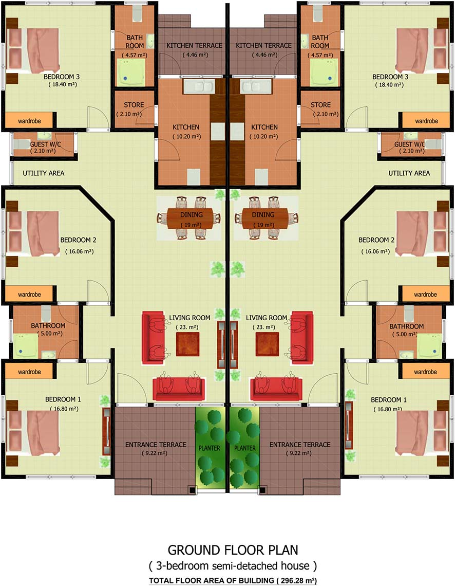 Osagyefo court homes for Double storey semi detached house floor plan